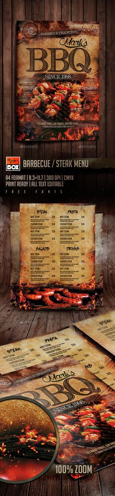 BBQ Steak Menu Template PSD. Download here: http://graphicriver.net/item/bbq-steak-menu/14837928?ref=ksioks