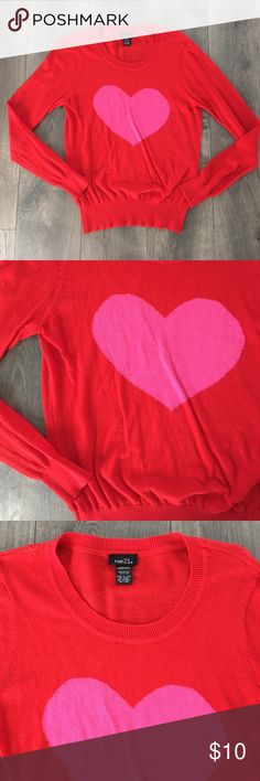 Red & pink heart sweater Worn once. Perfect condition. Soft knit. No pilling or signs of wear. Rue 21 Sweaters