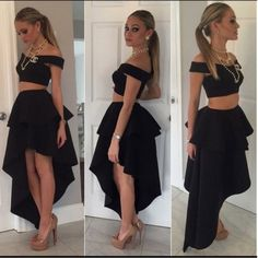 Sexy Black Two Piece High Low Prom Dresses Homecoming Graduation Dresses