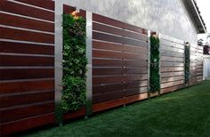 73 garden fence ideas for protecting your privacy in the yard : Front Yard Privacy Garden Fence Wood Steel Elements Vertical Garden Wall Backyard Fences, Garden Fencing, Backyard Landscaping, Landscaping Ideas, Modern Backyard, Backyard Ideas, Garden Art, Planter Garden, Backyard Privacy
