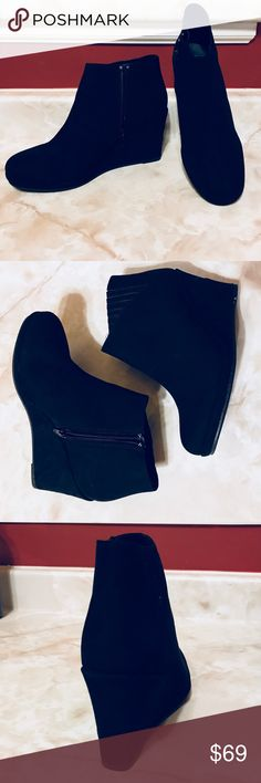 PRICE ⬇️ ⬇️Jabby Black Micro Booties ☄️JUST ARRIVED- NEW COLOR AND SIZE☄️NIB—Jabby Black Micro Booties  3 in wedge heel Side zip Faux suede Versatile wedge heel- great to wear with jeans, skirts or dresses Shoes Ankle Boots & Booties