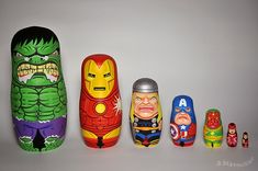 Marvel Comics Avengers Nesting Dolls.  Hand Painted by Andy Stattmiller.
