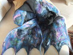 Blue black nuno scarf with beading