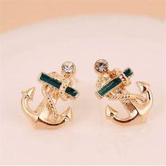 Feitong Attactive 2016 New Fashion Beautiful Shiny 1 Pair Women Fashion Crystal Rhinestone Sailor Anchor Ear Stud Earrings Gift