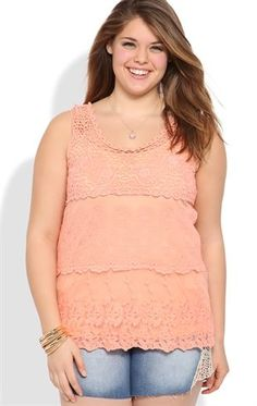 Plus Size Crochet Tank with Embroidery and Circular Pattern