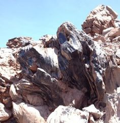 Obsidian squeezed out of the earth in Inyo County, Obsidian Dome.