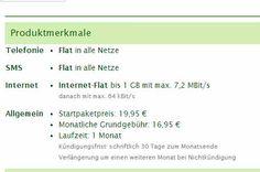 SMS Flat + Internet Flat + AllNet Flat nur 16.95€ mtl