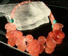 Designs by Diane handcrafted gemstone jewelry, 48. cherry quartz and amazonite