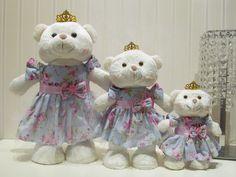 Kit 3 Ursas Princesas em Pé P, M e G