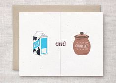 Valentine Card For Him  Milk and Cookies  by HappyDappyBits, $4.50
