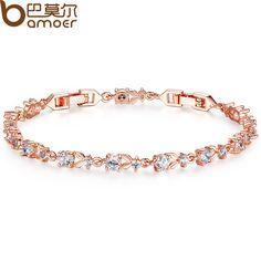 BAMOER 6 Colores de Lujo 18 K Chapado En Oro Rosa Pulsera de Cadena para Mujeres de Las Señoras Brillante AAA Cubic Zircon Crystal JIB013