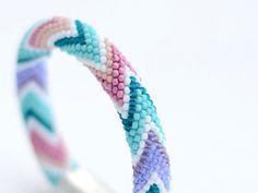 Bead Crochet Bracelet Candy-floss for women beaded by Chudibeads
