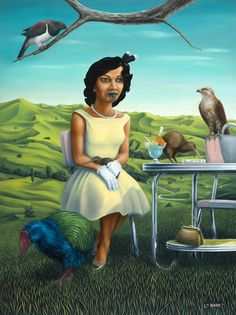 Maori woman share cocktail with native birds by Liam Barr Afghan Girl, New Zealand Art, Nz Art, Maori Art, Kiwiana, King And Country, Polynesian Culture, Country Paintings, Pop Surrealism