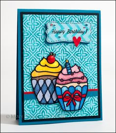 Birthday Cupcakes Card - Elizabeth Craft Designs Cupcake Peel-Off Stickers and Microfine Glitter, Copic Markers
