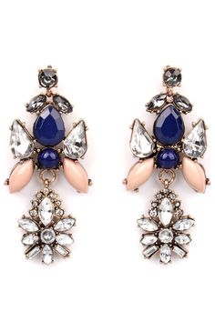 love these navy and blush statement earrings
