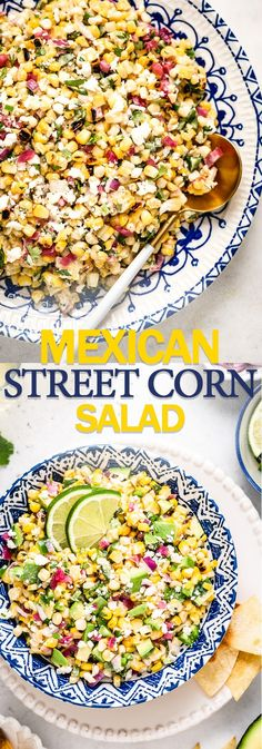 Mexican Street Corn Salad recipe (aka Esquites) is tangy spicy and deliciously creamy. Whether you cook the corn on the grill or in a skillet this easy Mexican corn salad is guaranteed to be a hit for all your summer gatherings. Mexican Salad Recipes, Corn Salad Recipes, Mexican Salads, Corn Salads, Roasted Corn Salad, Corn Tomato Salad, Grilled Corn Salad, Easy Summer Meals, Summer Recipes