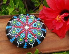 Hand Painted Mandala Stone 4/ Big Mandala Wedding by Mandalaole