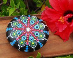 Hand Painted Mandala Stone 4/ Big Mandala Wedding by Mandalaole