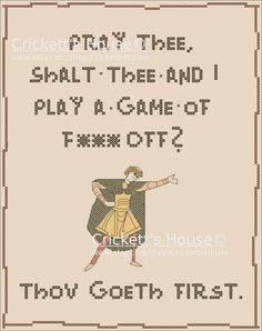 """Play A Game. Mature cross stitch pattern. Inspired from a quote in the movie """"Olympus Has Fallen."""""""