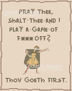 MATURE Cross Stitch PDF Pattern. Play a Game.