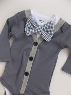 Items similar to Cardigan Onesie Gingham Bowtie Onesie Baby Boy So Handsome on Etsy