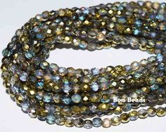 4mm crystal gold etched round fire polished @ www.bonbeads.com
