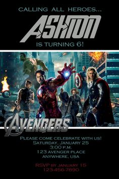 MARVEL AVENGERS Birthday Party Invitation  by twotwelvedesigns, $5.00 Please repin! #marvel #avengers