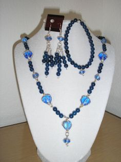 Genuine Banded Blue agate/Wire wrap glass by CreationsbyMaryEllen, $17.50