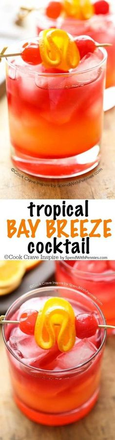 This easy to make Tropical Bay Breeze Cocktail is a taste of the tropics with flavors of pineapple and coconut rum. (Plus the easy trick to making ANY drink perfectly layered)! **too sweet and too many calories but sounds so yummy. Fancy Drinks, Cocktail Drinks, Cocktail Recipes, Drinks With Rum, Coconut Rum Drinks, Refreshing Drinks, Summer Drinks, Bay Breeze Cocktail, Malibu Bay Breeze