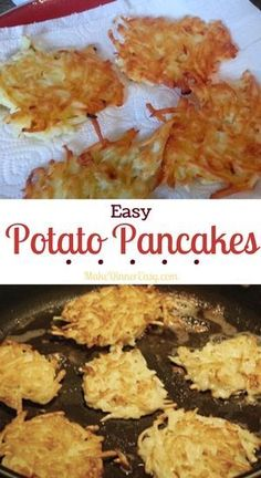 Easy Potato Pancake recipe made using packaged raw grated potatoes! Use a package of pre-shredded raw potatoes and you can make these potato pancakes in no time! Potato Dishes, Potato Recipes, Veggie Recipes, Food Dishes, Cooking Recipes, Recipe Of Potato, Vegan Potato Pancake Recipe, Potatoe Cakes Recipe, Side Dishes
