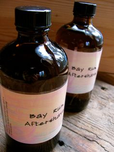 Recipe for Homemade aftershave, by Learningherbs.com      2 cups of witch hazel extract,   1 ounce of rum, zest from one orange,   1 cinnamon stick,   3-5 cloves,  3-5 whole allspice,   1/2 teaspoon glycerin, 1/2 teaspoon aloe vera, Bay West Indies Essential Oil,   Pint Jar