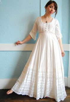 Vintage White Cotton Mexican Wedding Dress with Lots of Lace Details - Size Small/Medium Maria this looks a lot like your Moms. Indian Fashion Dresses, Boho Fashion, Fashion Outfits, Nail Fashion, Cotton Wedding Dresses, Cotton Dresses, Bohemian Mode, Kurti Designs Party Wear, Blouse Designs