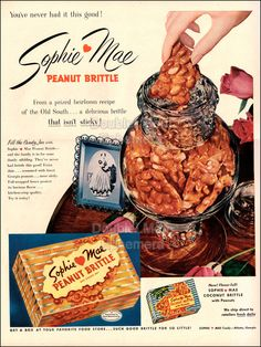 Shop for Vintage on Etsy, the place to express your creativity through the buying and selling of handmade and vintage goods. Retro Candy, Vintage Candy, Vintage Food, Lemon Jello, Old Candy, Peanut Brittle, Vintage Recipes, Food Items, Pulled Pork