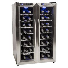 EdgeStar 32 Bottle Dual Zone Wine Cooler with Stainless Steel Trimmed French Doors and Digital Controls * Want to know more, click on the image.