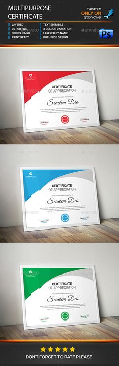 3 Colors Multipurpose Certificates Colors, Template and - business certificates templates