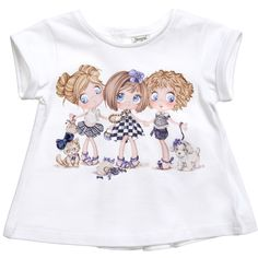 Mayoral Baby Girls White Girl Print T-Shirt at Childrensalon.com