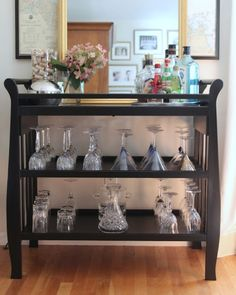 Changing table turned bar cart - a great re purposing once baby has grown up!