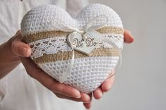 We Do Ring Bearer Pillow White Wedding Ring Pillow with Wooden Heart Vintage Keepsake Alternative Wedding / Engagement Ring Cushion Holder Wedding Ring Cushion, Cushion Ring, Crochet Rings, Rustic Wedding Rings, Ring Holder Wedding, Crochet Wedding, Heart Pillow, How To Make Ribbon, Wooden Hearts