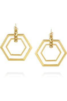 Eddie Borgo|Lattice gold-plated hexagonal hoop earrings|NET-A-PORTER.COM
