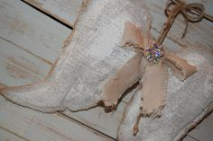 FREE SHIPPING Angel Wings Painted Burlap Shabby Chic Vintage Brooch Home Decor Wreath Wedding Pillow Christmas Small Pic 5 Medium Pics 1-4 by PleasantLeeHome on Etsy