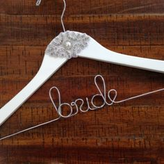 """Personalized """"BRIDE"""" White Pearl Wedding Dress Hanger << Perfect for Wedding Day Pictures!   #wedding #bride"""