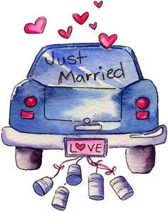 Wedding Clip, Wedding Art, Wedding Images, Wedding Gifts, Wedding Anniversary Cards, Happy Anniversary, Just Married Car, Wedding Illustration, Fancy Fold Cards