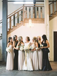Opposites Attract | Mixing dark and light shades creates a gorgeous contrast for your bridal party.