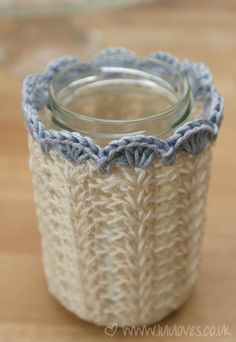 Crochet Jar covers. My friends who crochet/knit....my birthday is June 10th lol I have decided I hate crocheting :(