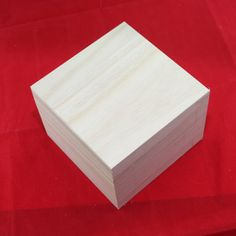 """3 NEW Square Cap Top Box Wood Unfinished Paulownia Wood Set of 3 Small 2-3/8""""…"""