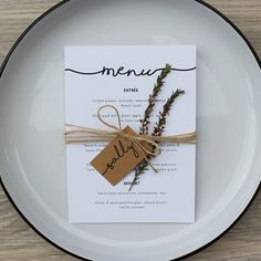 Rustic wedding menu & placecard by LittlePrintCoAU on Etsy
