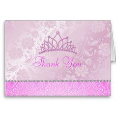 Pink Princess Floral Thank You Card