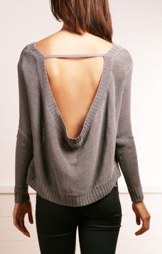 A gorgeous grey sweater from Inhabit with a cool feature that exposes your back.