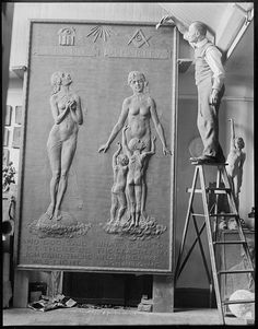 Sculptor Karl Skoog at work | por Boston Public Library