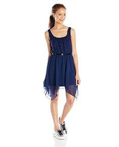 As U Wish Lace Tank Chiffon Bottom Hanky Hem Dress